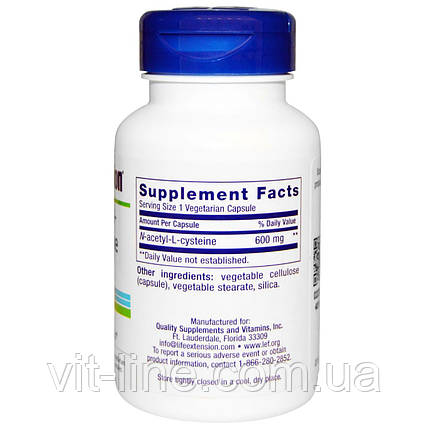 Life Extension, N-ацетил-L-цистеин, 600 мг, 60 вегетарианских капсул, фото 2