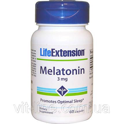 Life Extension, Life Extension, мелатонин, 3 мг, 60 капсул, фото 2
