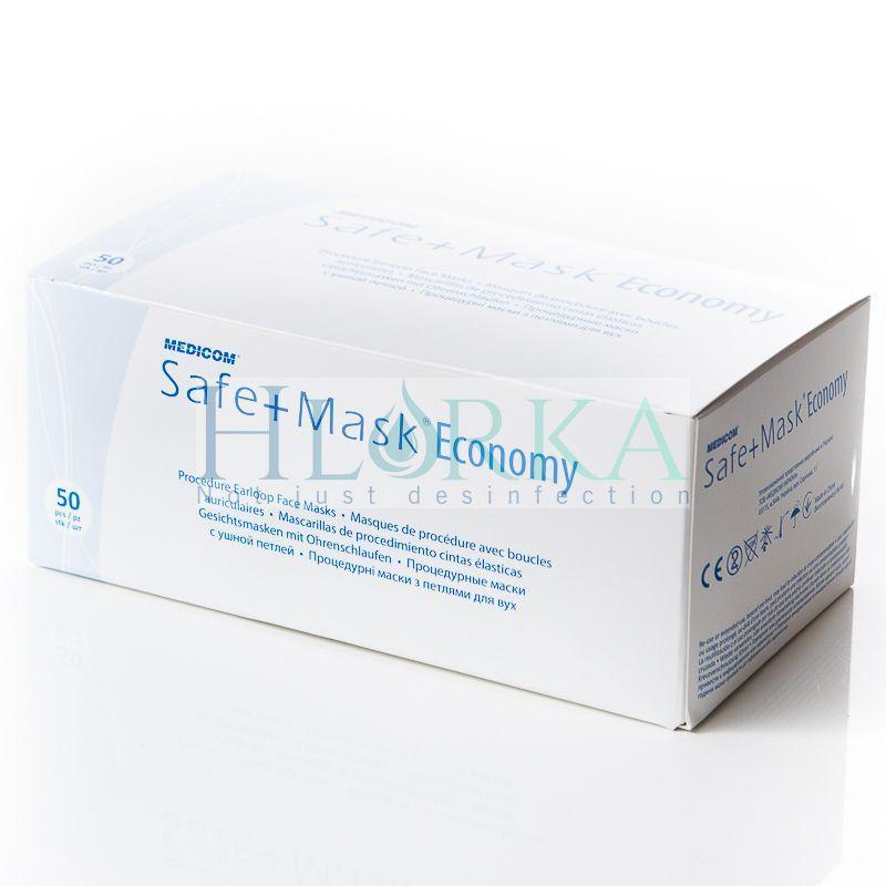 Маски медицинские, хирургические, трехслойные с петлями для ушей, Голубые (50 шт/уп) Medicom (Малайзия), фото 1