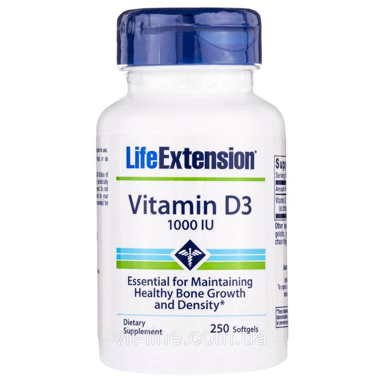 Life Extension, Витамин D3, 1000 IU, 250 капсул