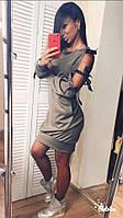 Стильное модное красивое платье с завязками лентами длинным рукавом и карманами хаки 42-44