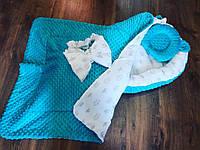 """Зимний кокон-гнездышко """"темная мята"""" + ортопедическая подушка для новорожденных + конверт-плед на выписку, фото 1"""