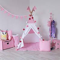 Вигвам Хатка комплект Рассвет Белый с розовым с подушкой