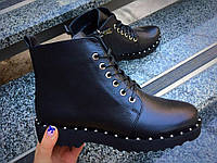 Ботинки женские осенние без каблука на шнуровке подошва с шипами кожаные, женская демисезонная обувь из кожи