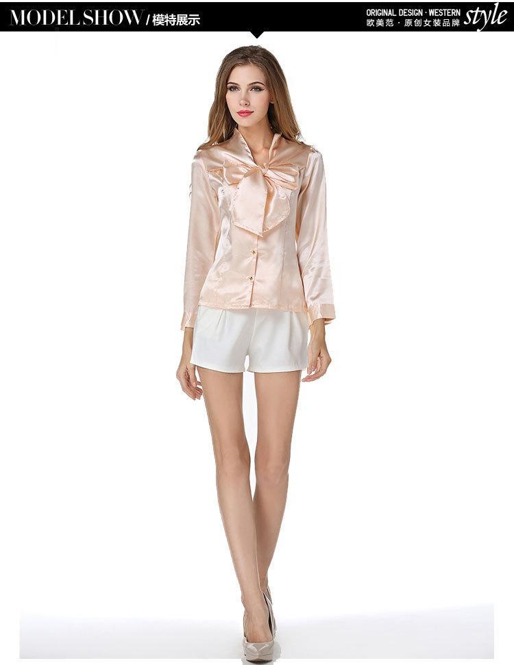 d47c2755e4d Распродажа!Женская атласная блуза-рубашка с бантом на пуговицах ...