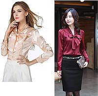 Женская атласная блуза-рубашка с бантом на пуговицах