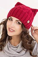 Женская вязаная шапка в 12ти цветах с ушками AC Снежана1