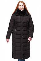 Комфортное длинное полуприталенное пальто с высоким воротником-капюшоном, 48,50,52,54,56,58,60,62,64