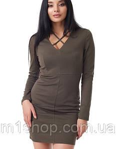 Трикотажное облегающее платье (2091 br)