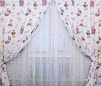 Красивый комплект штор для детской с рисунком