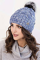 Женская вязаная шапка в 8ми цветах с помпоном AC Моника (меланж)