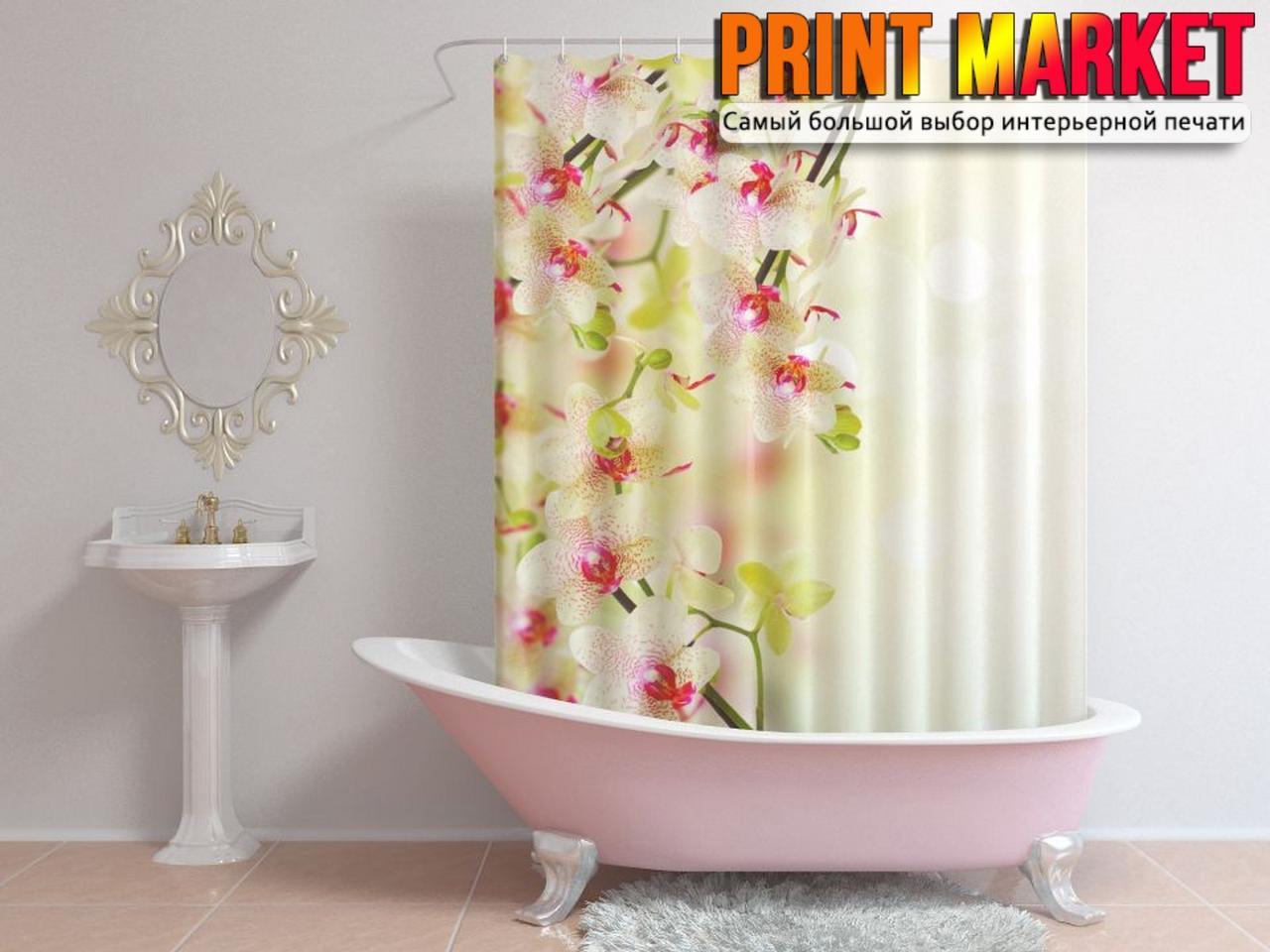 Шторы для ванной цветы на ветке