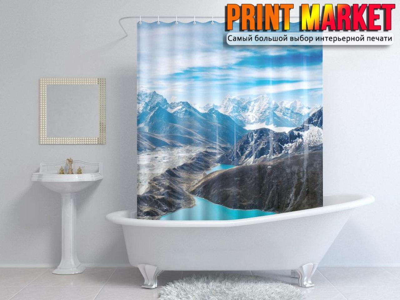 Шторы для ванной озера в горах