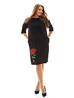 Платье свободного покроя с аппликацией роза и декоративными пугавицами