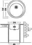 Гранітна мийка для кухні Argo Tondo Black 510*200, фото 2