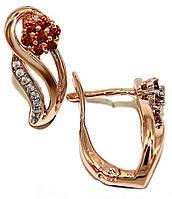 Серьги ХР позолота с красным оттенком. Камни: белый и бордовый циркон. Высота серьги 1,6 см. ширина 6 мм.