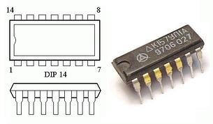 К157УЛ1А двоканальний попередній підсилювач відтворення