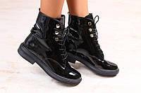 Стильные ботинки из лакированной кожи на шнурках, фото 1