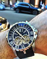 Roger Dubuis Excalibur Double Flying Tourbillon Silver Black наручные часы премиум класса ААА