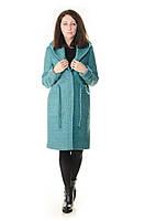 Пальто женское Nexx бирюзовое с капюшоном