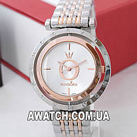 Женские наручные часы Pandora 6861-1 серебро-розовое золото с вращающимся циферблатом
