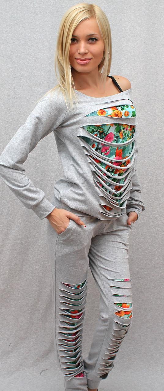 Спортивный костюм женский светло-серый