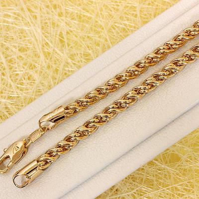 014-0738 - Позолоченная цепочка плетение Лисий Хвост, 60 см