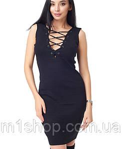 Черное утягивающее платье со шнуровкой (2827 br)