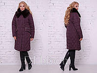 Практичное теплое стеганное пальто на зиму