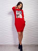 Молодежное платье футляр с стильным принтом, цвета в ассортименте