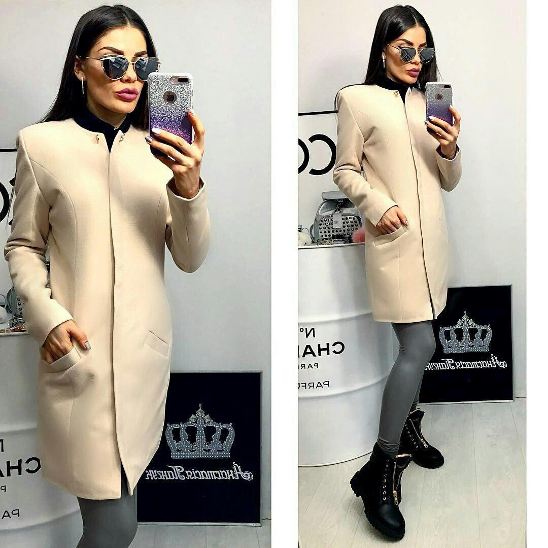 Пальто жіноче, модель 739/2, молочний