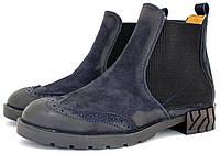 Женские ботинки-челси синего цвета. Коллекция 2017 года.