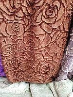 Покрывало плед 3D роза 220*240. Шоколадный.