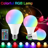 RGB-лампа с цоколем E27 GTV LED 8Вт с пультом ДУ