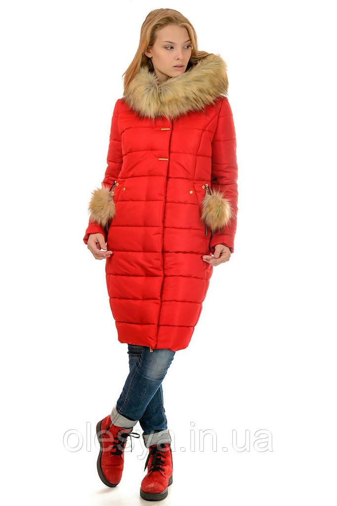Зимнее женское пальто пуховик Майя размеры 48- 56 Мех Енот!