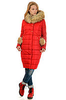 Зимнее женское пальто пуховик Майя размеры 48- 56 Мех Чернобурка! Топ продаж!