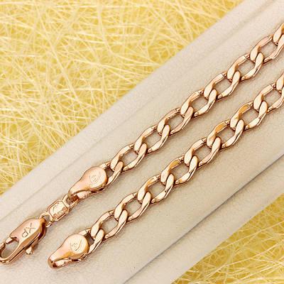 014-0772 - Цепочка Панцирное плетение с изогнутыми звеньями розовая позолота, 60.5 см