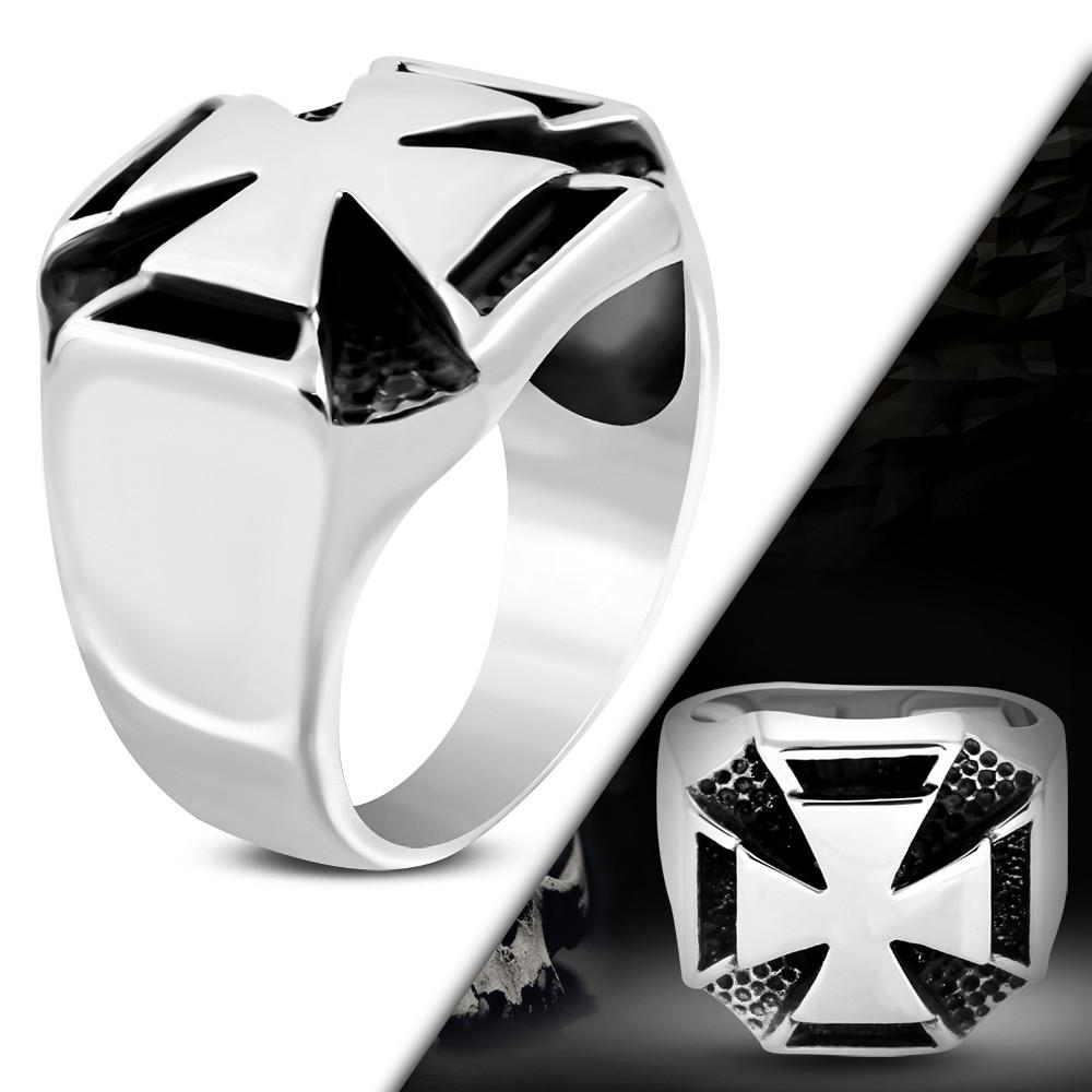 Байкерський перстень з хрестом з медичної сталі 18