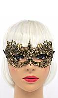 Твердая ажурная маска черно золотая