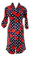 Цветной велюровый женский халат на молнии 56р