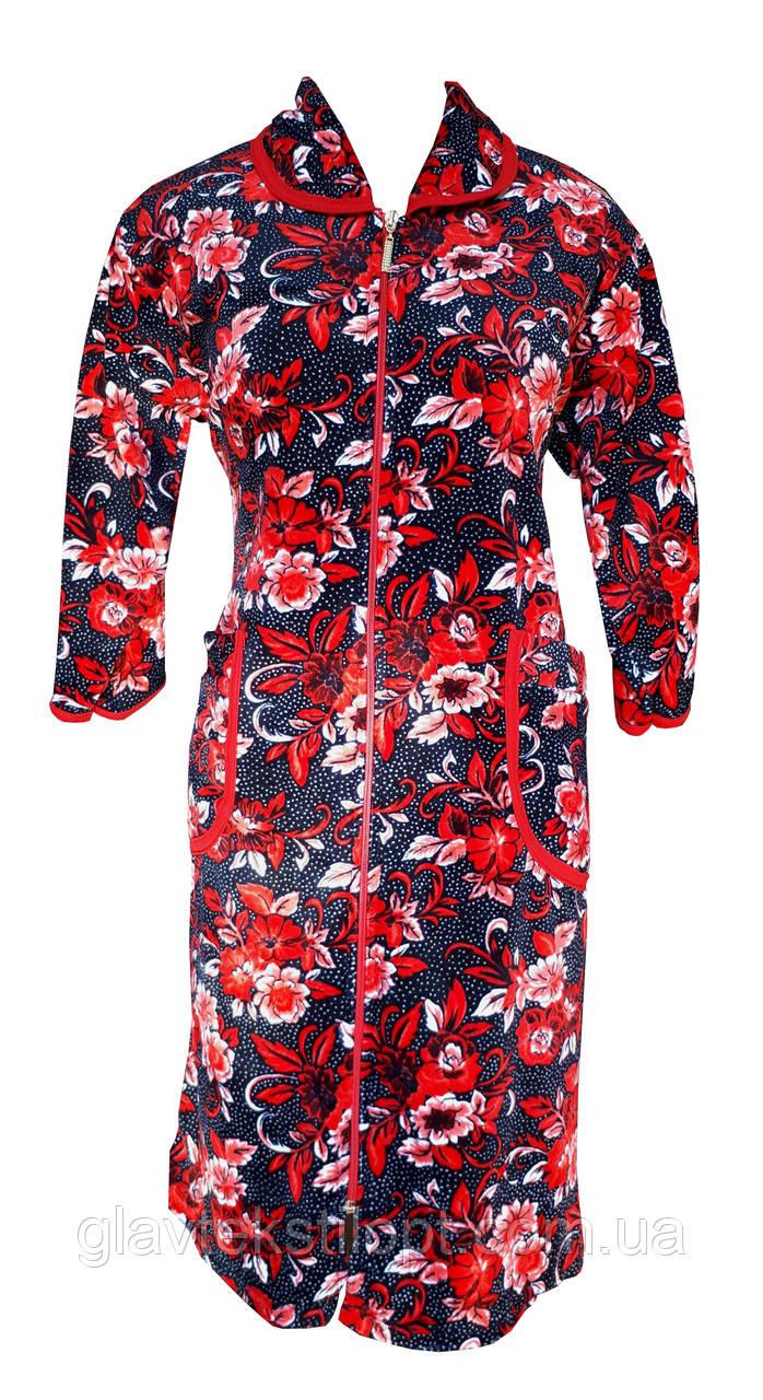 Цветной велюровый женский халат на молнии 58р