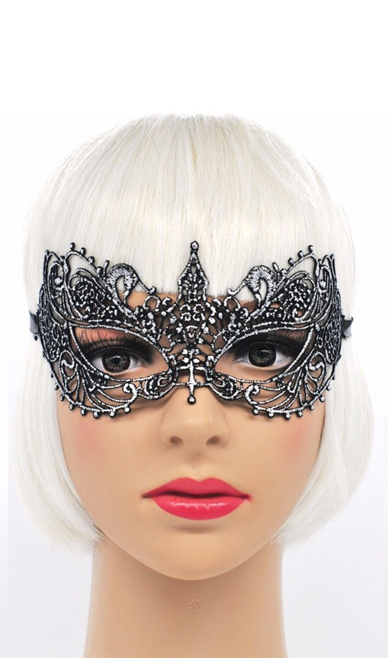 Твердая ажурная маска черное серебро