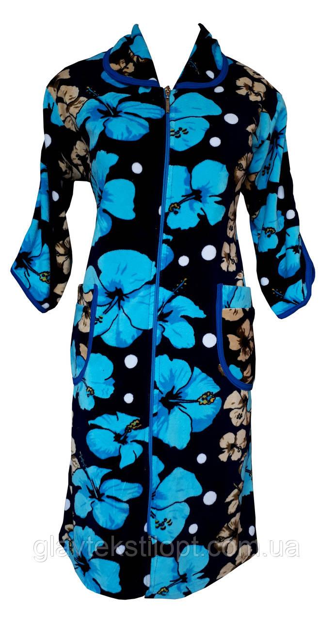 Цветной велюровый женский халат на молнии 62р