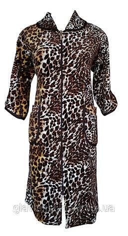 Цветной велюровый женский халат на молнии 62р, фото 2