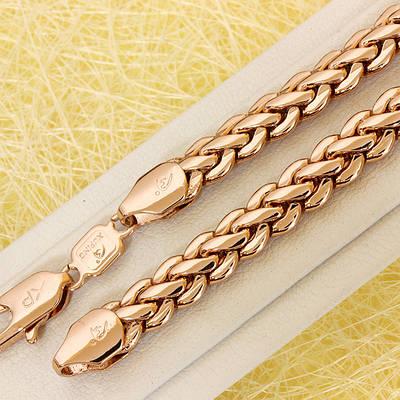 014-0774 - Цепочка плетение Лисий Хвост розовая позолота, 60.5 см