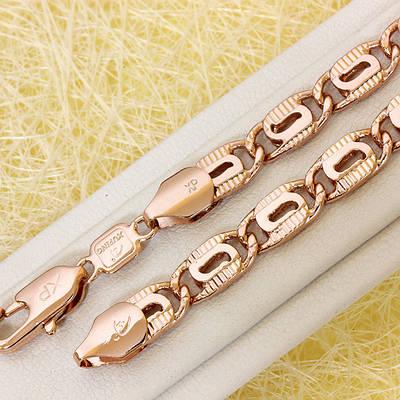 014-0778 - Цепь плетение Улитка штампованная розовая позолота, 61 см