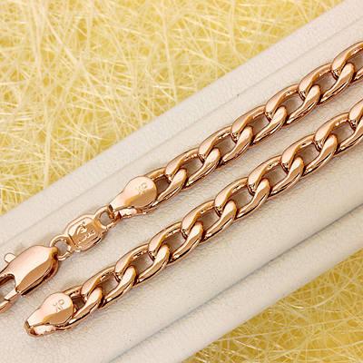 014-0789 - Цепь Панцирное плетение розовая позолота, 50.5 см