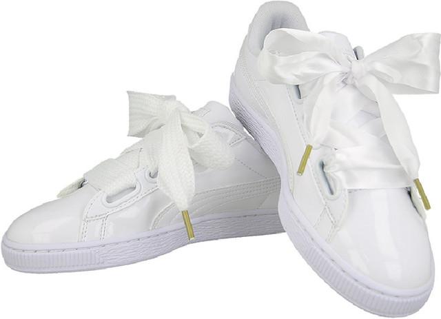 Белые кроссовки женские Puma Basket Heart Patent White. 20406b1355d1f