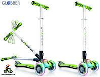 Детский самокат Globber Elite FL Fold up Lights Зеленый светящиеся колеса
