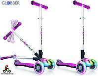 Детский самокат Globber Elite FL Fold up Lights Розовый светящиеся колеса